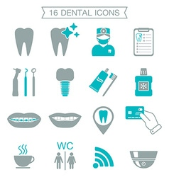 16 Dental icons Silhouette Color block Isolated vector image