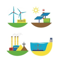 Alternative energy source set vector image vector image