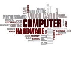 Computer Hardware Word Cloud Bubble Tag Tree vector image vector image