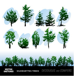 set of silhouettes of trees vector image
