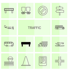14 traffic icons vector
