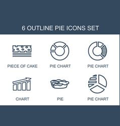 6 pie icons vector image