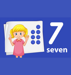 A girl showing number seven vector