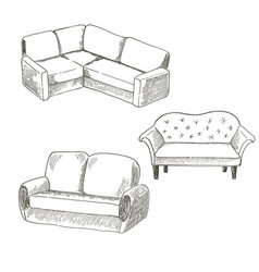 A set of pieces of furniture on a white vector