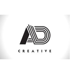 Ad logo letter with black lines design line letter vector