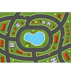 Aerial scene with roads and houses vector