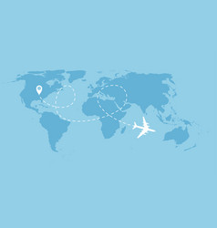 airplane dotted flight background above world map vector image