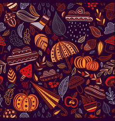 autumn seamless pattern dark bakground vector image