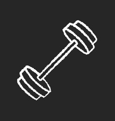 barbell chalk white icon on black background vector image