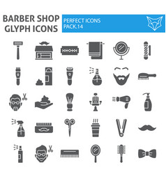 barber shop glyph icon set hairstyle symbols vector image