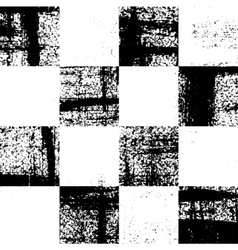 Black and white checkered grunge pattern vector image
