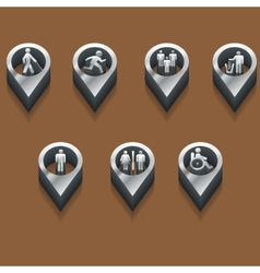 black and white icons people isometric vector image