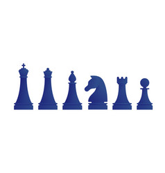 Blue chess pieces icons set vector