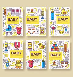 Breastfeeding week brochure cards thin line vector