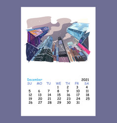 Calendar sheet new york december month 2021 year vector