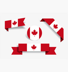 Canadian flag stickers and labels vector