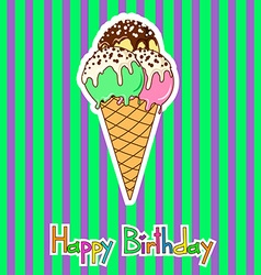 card for birthday with ice cream vector image