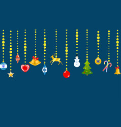christmas symbols hanging on ropes of balls vector image