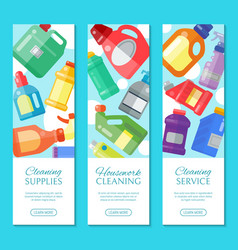 Cleaning supplies banner household bottle plastic vector
