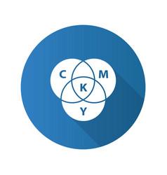 cmyk color circle model flat design long shadow vector image
