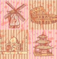 Coliseum Chinesel Mill Taj Mahal vector image