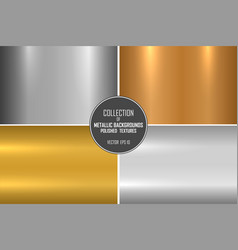 Collection of realistic metallic textures shiny vector