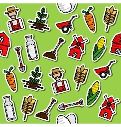 Colored farm pattern vector