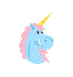 cute lovely happy magic unicorn character cartoon vector image