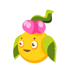 Cute yellow fantastic plant character round shape vector