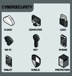 Cybersecurity color outline isometric icons vector