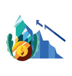 dollar coin diagram arrow vector image