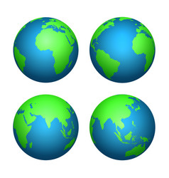 earth 3d globe world map with green continents vector image