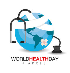 Earth planet with stethoscope to health day vector