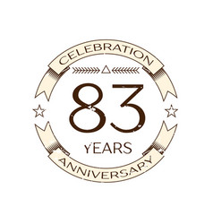 Eighty three years anniversary celebration logo vector