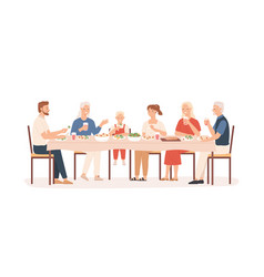 family dinner grandparents parents and kids vector image