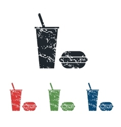 Fast food grunge icon set vector image