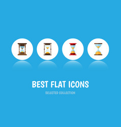 Flat icon hourglass set of loading minute vector