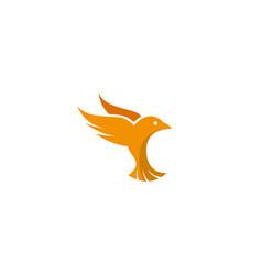 flying yellow bird logo vector image