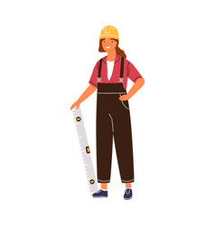 friendly woman architect holding constructing vector image