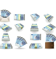 Full set of twenty euros banknotes vector