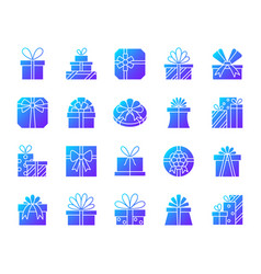 Gift simple gradient icons set vector