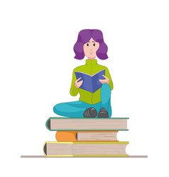 Girl with the textbook sitting on a pile of books vector
