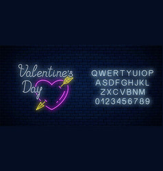 glowing neon alphabet and sign of valentines day vector image