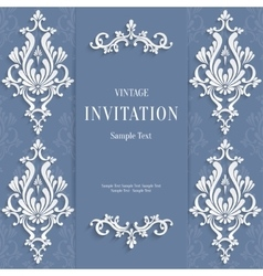 gray christmas vintage invitation card vector image