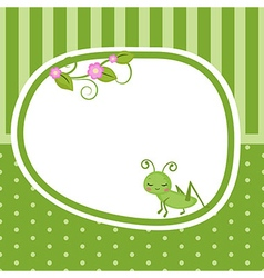 Greeting card with grasshopper vector