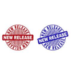 Grunge new release scratched round stamp seals vector