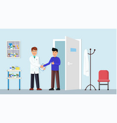 handshake a doctor with patient vector image