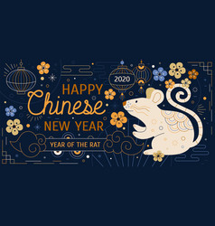 happy chinese new year colored banner vector image