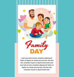 happy family day with kids greeting card template vector image