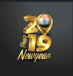 Happy new year 2019 golden typography with india vector